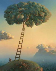 Pinturas-surrealistas-de-Vladimir-Kush-escalera